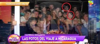 """La noche de la violación, Laura Esquivel celebró sus 15 años con el elenco de """"Patito feo"""". (Camila Salazar fue quien entregó el material fotográfico – captura de TV)"""