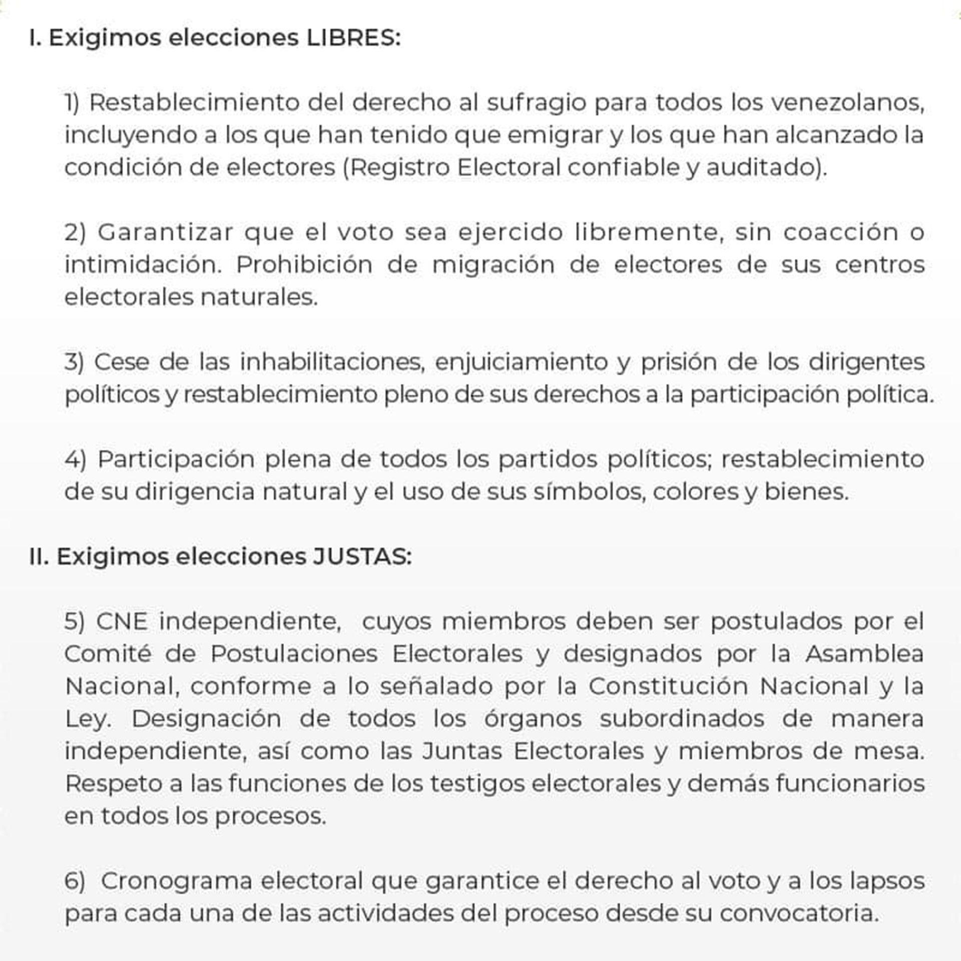 Documento de la oposición de Venezuela SF