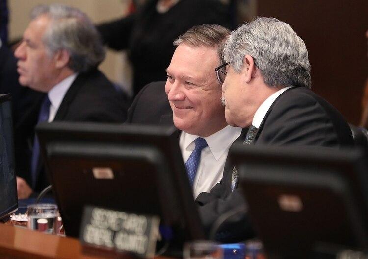 Mike Pompeo durante la reunión de la OEA de este jueves