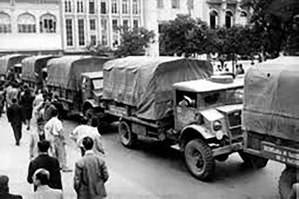 Camiones del Ejército en el operativo anti paludismo