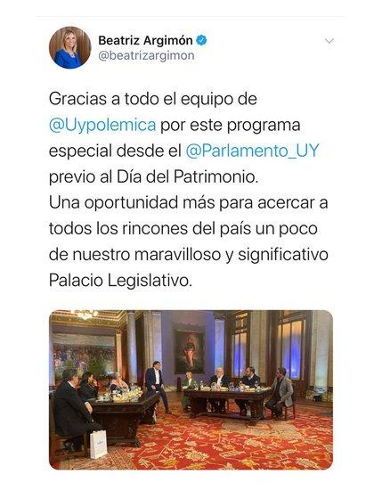 El mensaje de la vicepresidente uruguaya (Foto gentileza Gustavo Sofovich)