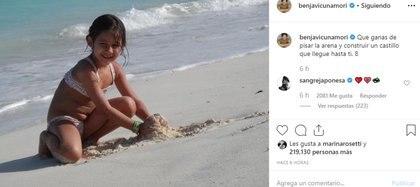 """Uno de los protagonistas de """"Argentina, tierra de amor y venganza"""" volvió a recordar a la pequeña con una tierna imagen y su mujer, la China Suárez, acompañó el posteo con emojis de corazones"""