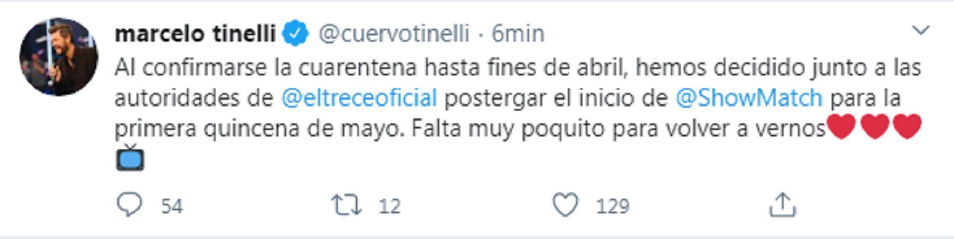 El tuit de Marcelo Tinelli