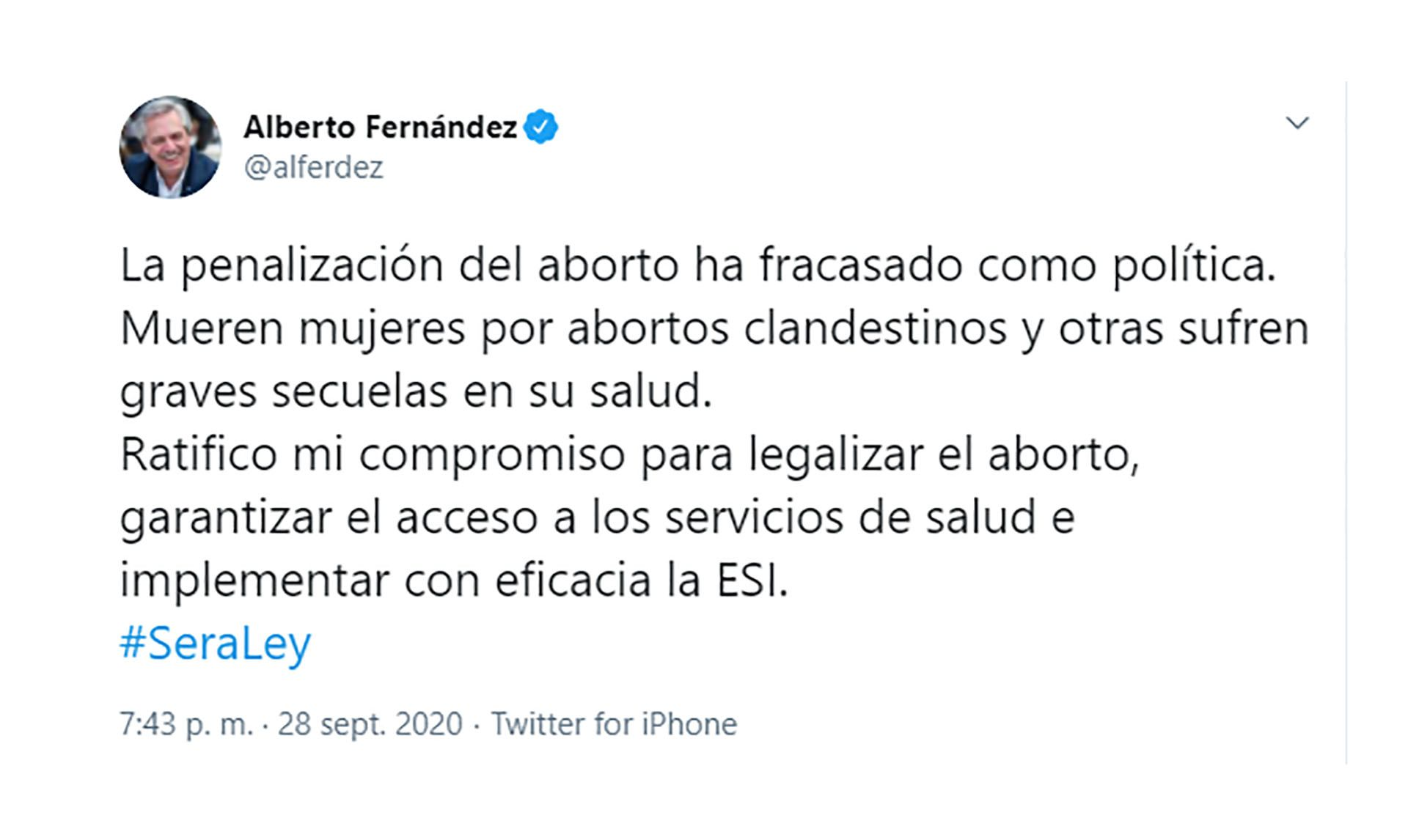 tuit aborto Alberto Fernández