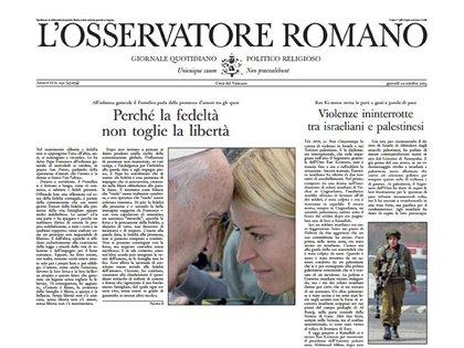 """Por qué la fe no quita la libertad"", tituló el diario El Observador Romano"