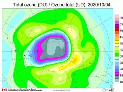 El agujero de ozono antártico se agrava por un vórtice polar estable (OMM)