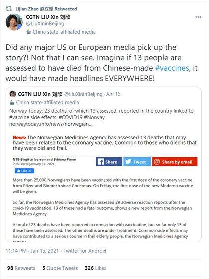 El tuit de la periodista Liu Xin de la cadena estatal china CGTN sobre la vacuna Pfizer y las muertes en Noruega. El mensaje fue compartido por un alto vocero de la cancillería del régimen (Twitter)