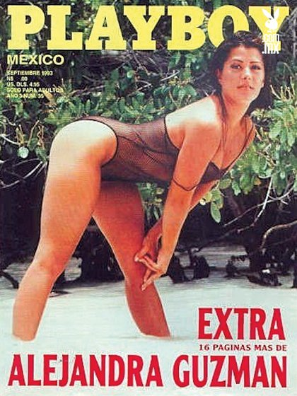 """Alejandra Guzmán nunca ha hablado abiertamente de su romance con """"el sol"""", pero sí ha aceptado que tuvieron una amistad muy cercana (Portada Revista Playboy, Septiembre 1993)"""