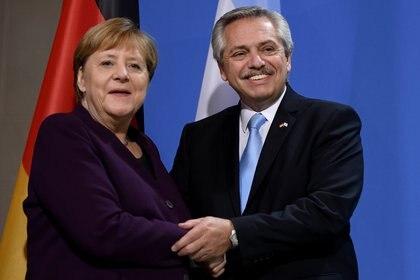 Alberto Fernández y Angela Merkel