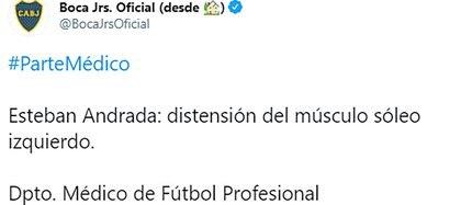 El informe publicado por Boca sobre la lesión de Esteban Andrada