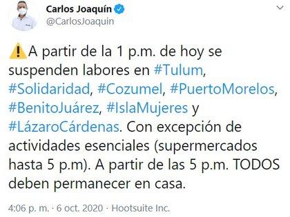(Foto: Twitter @CarlosJoaquin)