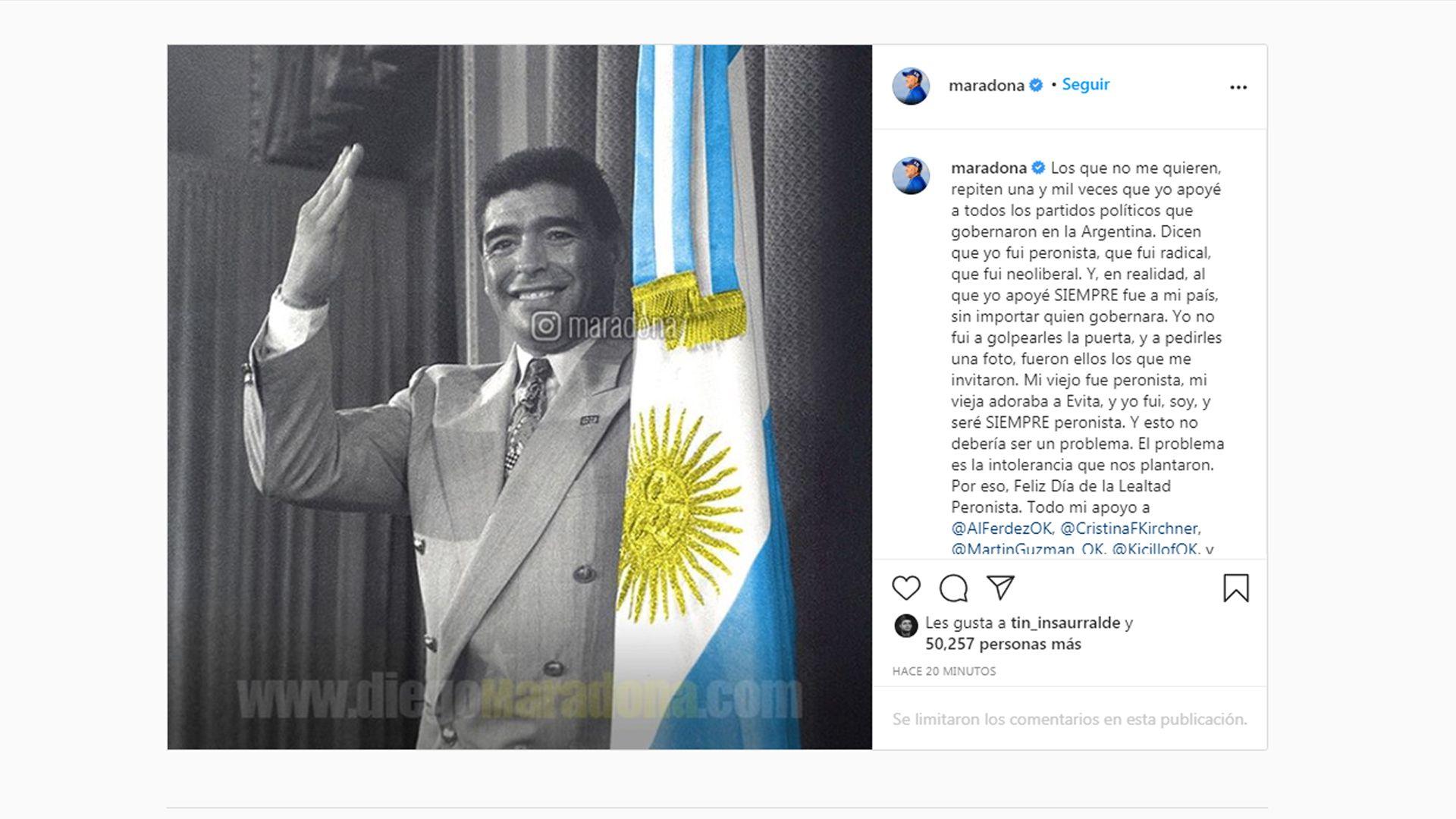 posteo de Maradona para el Día de la Lealtad