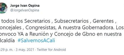 Foto: Twitter Jorge Iván Ospina.