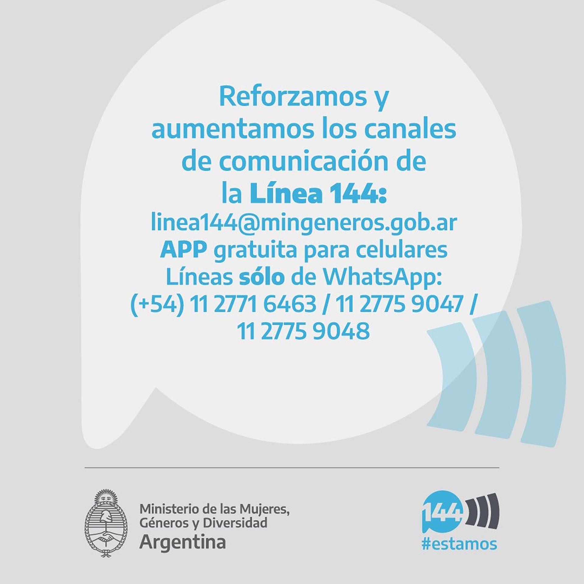 La línea 144 sumo canales de mail, redes sociales y watsap para una mejor atención frente a la emergencia.