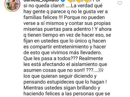 El comentario de Daniela Lopilato en la publicación de Luisana (Foto: Instagram)