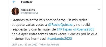 El mensaje de Ángela Leiva en respuesta a Rocío Quiroz y Rodrigo Tapari