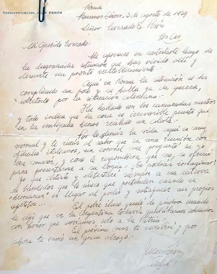 Carta manuscrita de Perón a su tío Conrado