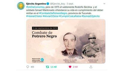 El tuit del Ejército Argentino, que luego borraron.