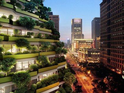 Más de 20.000 árboles decorarán la fachada exterior del complejo (Vincent Callebaut Architectures)