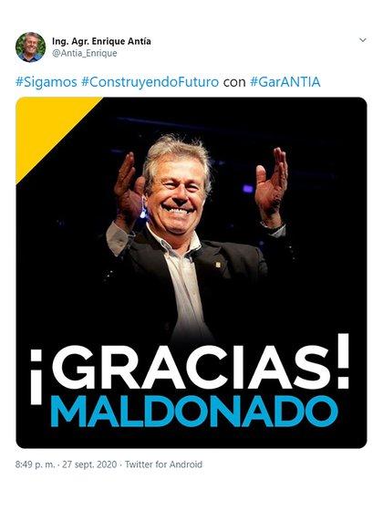 Antía agradeció el respaldo de MAldonado en su cuenta de Twitter