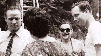 """Durante la filmación de """"Un travía llamado deseo"""", con Marlon Brando"""