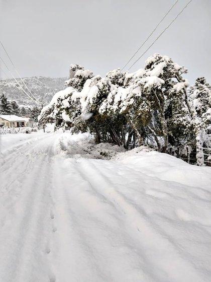 Muchas calles y rutas quedaron completamente intransitables tras lluvias y nevadas intensas (Twitter: @lfsur)