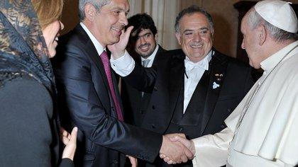 El ex presidente de la Cámara de Diputados de la Nación, Julián Domínguez, en el Vaticano durante la presentación de las cartas credenciales del embajador Eduardo Valdés ante el papa Francisco.