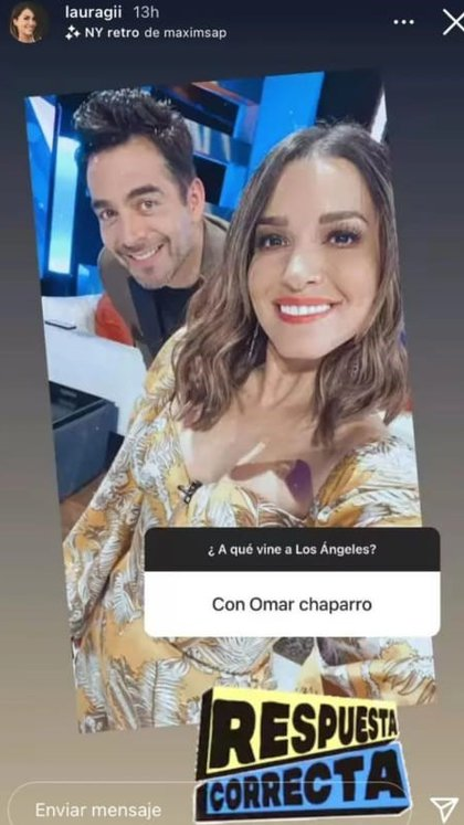 """Via her Instagram account, Laura G documented her trip to Los Angeles and that she was with Omar Chapparro to appear on his show. """"To Night"""" (Image: Instagram lauragii)"""