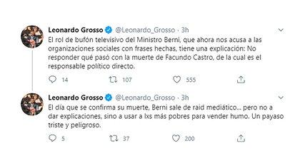 La dura crítica de Leonardo Grosso al ministro de Seguridad, Sergio Berni