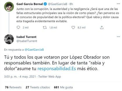 Usuarios en Twitter lo culparon a el de la tragedia por haber apoyado al presidente Andrés Manuel López Obrador durante su campaña por la presidencia de México (Foto: Captura de pantalla Twitter/ @GaelGarciaB)