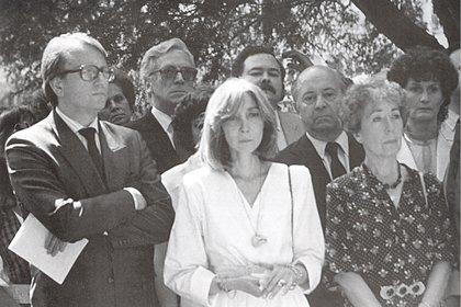 Hector Bianciotti, Maria Kodama y Aurora Bernardez en el entierro de Borges (Ginebra, Plainpalais, junio 18 de 1986)
