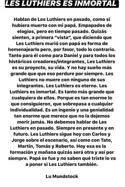 """Lucía Mundstock señaló que """"Les Luthiers es inmortal"""" (Foto: linopatalanook)"""