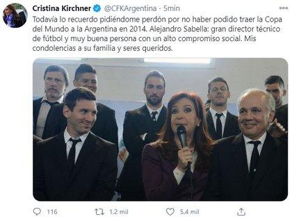 El tuit con el que Cristina Kirchner despidió a Sabella