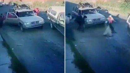 Entre las víctimas se encontraban dos mujeres y dos menores de edad, quienes también fueron sometidos a punta de pistola Foto: Twitter)