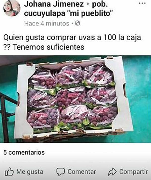 Así se ofrecieron las uvas robadas en las páginas de Facebook.