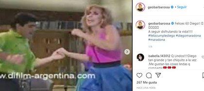 """La actriz también saludó al """"Diez"""" (Foto: Instagram)"""