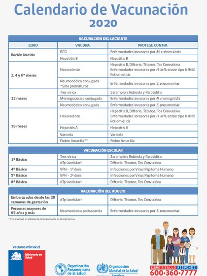 El actual calendario de vacunación obligatoria de Chile.  Donde esperan que se incluya la vacuna contra el COVID-19