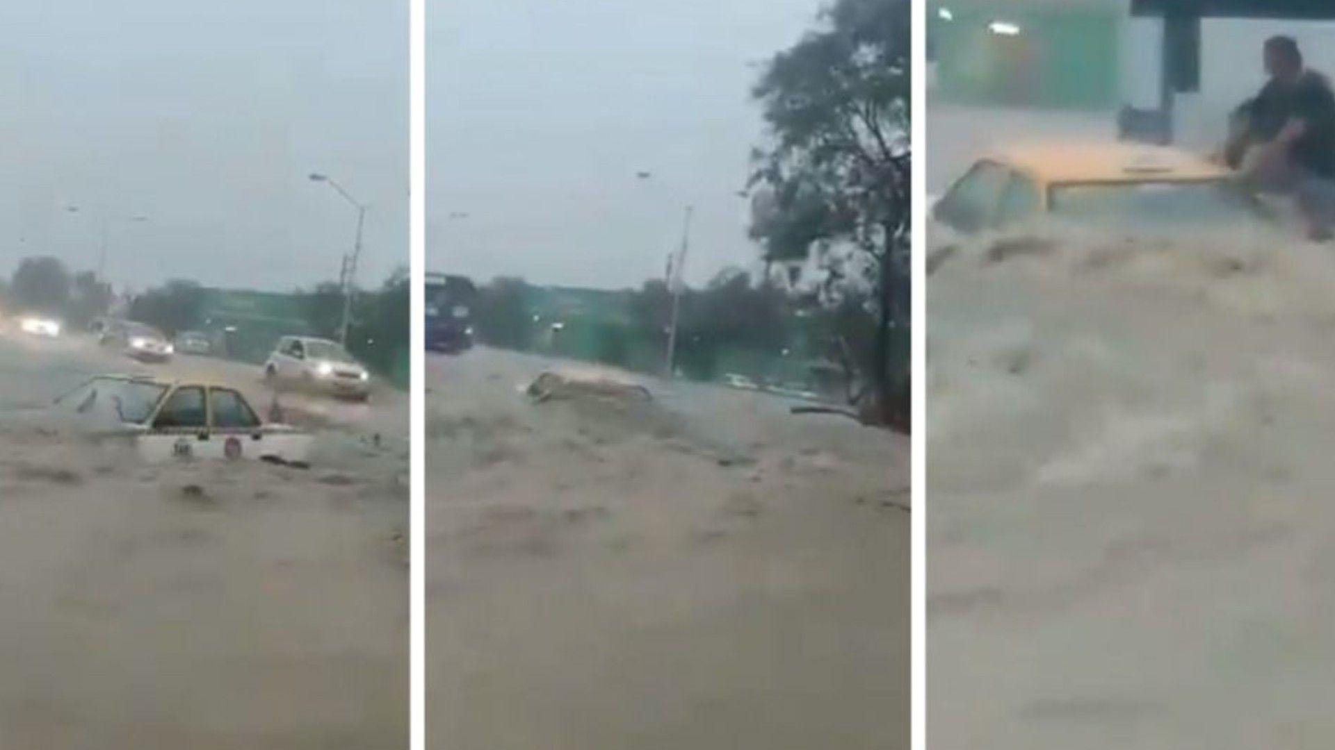 Un taxista intentó desafiar a la corriente de agua, pero fue arrastrada por ésta. Su imprudencia provocó que abandonara la unidad en medio del deslave (Foto: Especial)