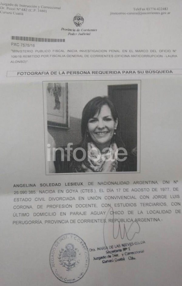 La orden de detención de la ex intendente Angelina Lesieux