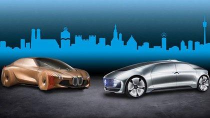 Los modelos futuristas elegidos por BMW y Daimler para el anuncio de la alianza que buscará convertirlos en líderes en la tecnología de conducción autónoma. Créditos: Prensa BMW y Daimler
