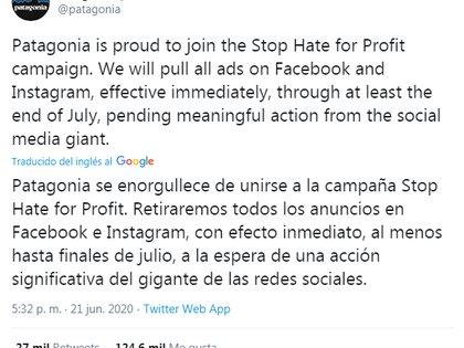 Parte del anuncio de Patagonia contra las acciones de Facebook (Foto: Twitter/ @patagonia)