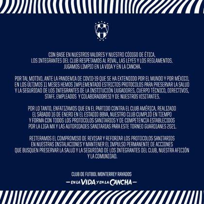 Comunicado de Rayados sobre acusaciones de América (Foto: Club Monterrey)