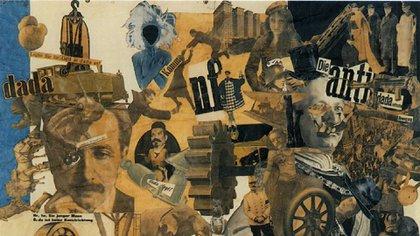 """Detalle de """"Corte con cuchillo de cocina a través de la barriga cervecera de la República de Weimar"""" (1919), de Hannah Höch"""
