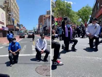 Policías arrodillados en Queens. El gesto solidario busca también recobrar la normalidad (Reuters)