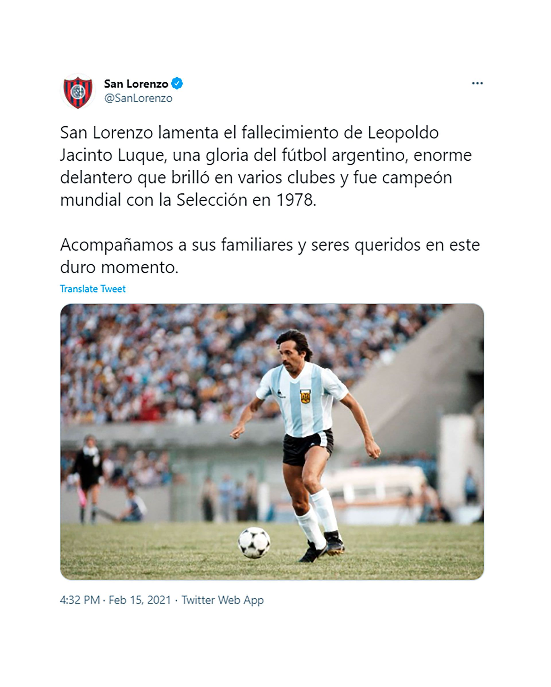 tuits por la muerte de Leopoldo Jacinto Luque