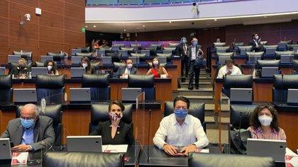 """Los diputados de Morena aceptaron omitir la opción de revisar """"otros"""" temas que no tuvieran que ver con la armonización del T-MEC (Foto: Twitter @mario_delgado)"""