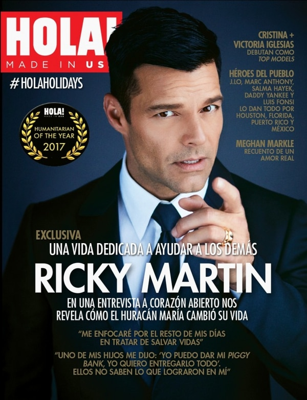 La portada de Ricky Martin comoHumanitarian of the Year de HOLA! USA