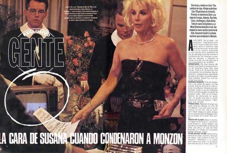 1988: GENTE registrando el momento en el que Susana recibe, en un corte de su programa, la noticia de la condena por el asesinato de Alicia Muñiz.