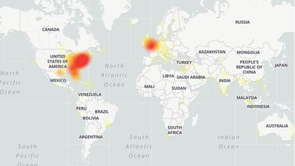Las fallas afectan principalmente la costa este de los Estados Unidos y partes de Europa (DownDetector)