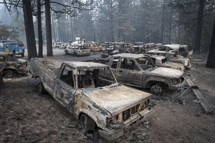 Burned-out vehicles stand in Paradise, California, U.S., on Thursday, Nov. 15, 2018. The number of acres burned in the blazes -- including the Hill and Woolsey fires in Southern California, and the Camp fire in Northern California, which has killed at least 48 people and destroyed the city of Paradise -- already is higher than the total burned in wildfires last year, A.M. Best Co. wrote in a report late Tuesday. Photographer: David Paul Morris/Bloomberg